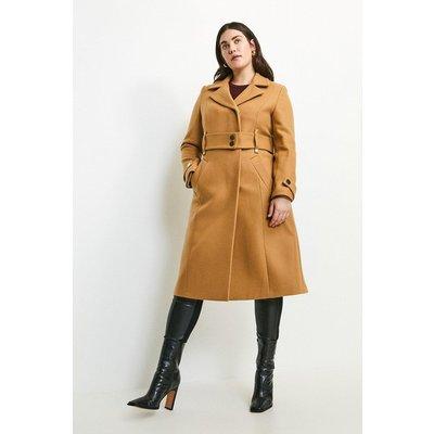 Karen Millen Curve Minimal Military Wool Blend Coat -, Camel