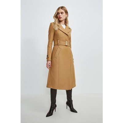 Karen Millen Minimal Military Wool Blend Coat -, Camel