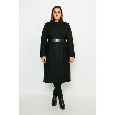 Karen Millen Curve Hardware Belted Italian Wool Blend Coat -, Black