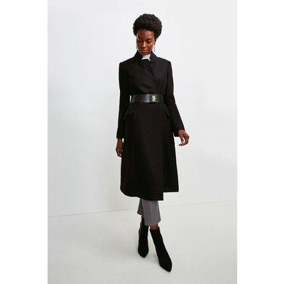 Karen Millen Hardware Belted Italian Wool Blend Coat -, Black