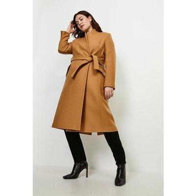 Karen Millen Curve  Notch Neck Rivet Coat -, Camel
