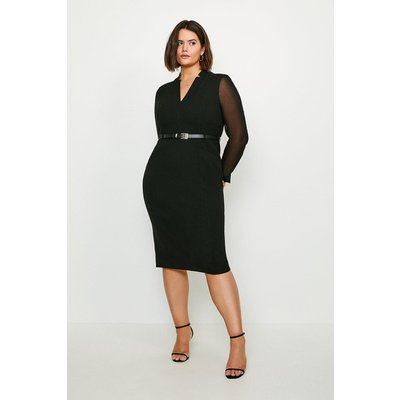 Karen Millen Curve Sheer Sleeve Forever Dress -, Black