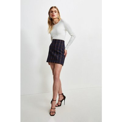 Karen Millen Italian Tweed A Line Skirt -, Navy