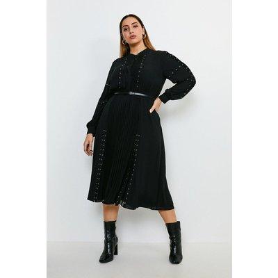 Karen Millen Curve Pintuck and Eyelet Detail Dress -, Black
