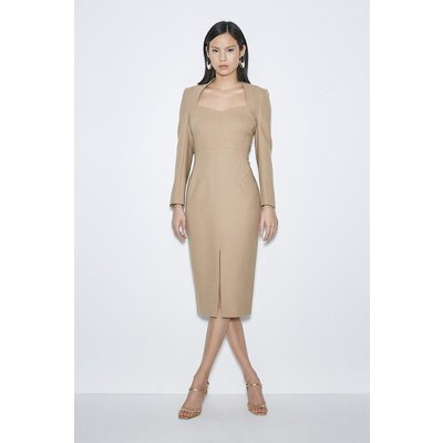 Karen Millen Black Label Italian Stretch Wool Sleeved Dress -, Camel