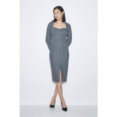 Karen Millen Black Label Italian Stretch Wool Sleeved Dress -, Grey