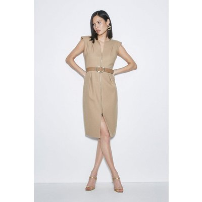 Karen Millen Black Label Italian Stretch Wool Zip Dress -, Camel