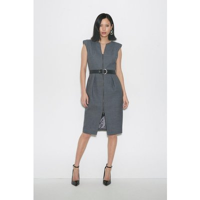 Karen Millen Black Label Italian Stretch Wool Zip Dress -, Grey