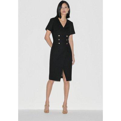 Karen Millen Label Italian Stretch Wool Dress -, Black