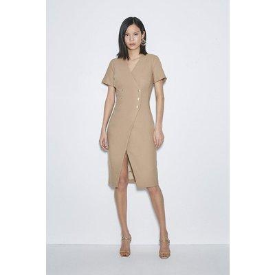 Karen Millen Black Label Italian Stretch Wool Dress -, Camel