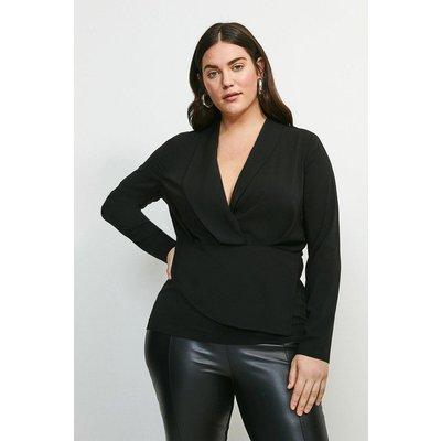 Karen Millen Curve Drape Long Sleeve Top -, Black