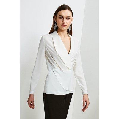 Karen Millen Drape Long Sleeve Top -, Ivory