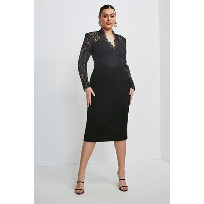 Karen Millen Curve Italian Lace Long Sleeve Forever Dress -, Black