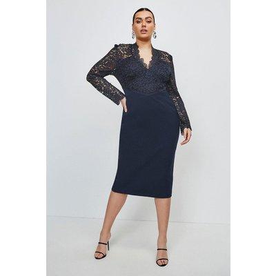 Karen Millen Curve Italian Lace Long Sleeve Forever Dress -, Navy