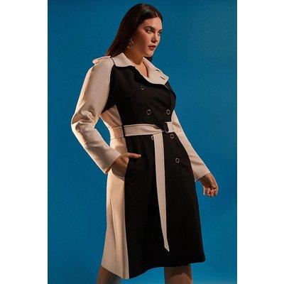 Karen Millen Curve Compact Stretch Contrast Trench Coat -, Blackwhite
