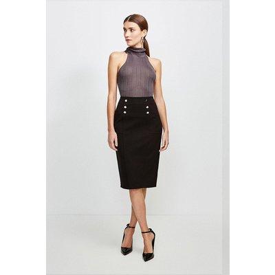 Karen Millen Button Pocket Ponte Midi Skirt -, Black