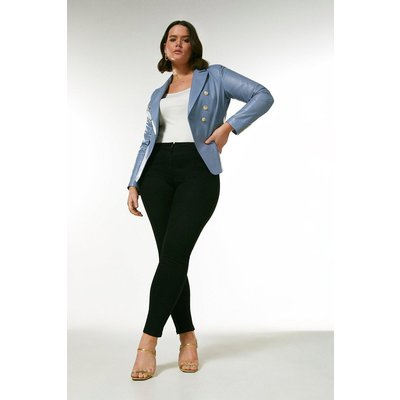Karen Millen Curve Leather Button Blazer -, Pale Blue