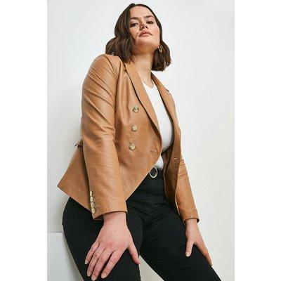 Karen Millen Curve Leather Button Blazer -, Tan
