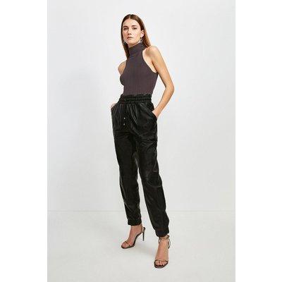 Karen Millen Leather Perforated Side Detail Jogger -, Black