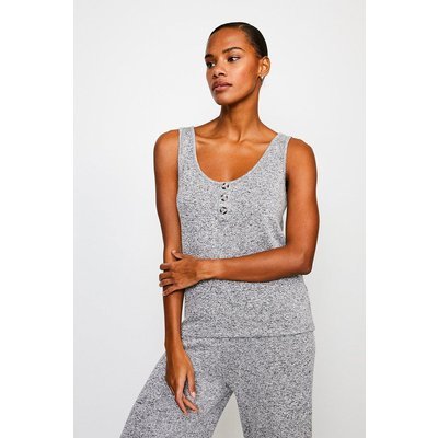 Karen Millen Super Soft Lounge Button Jersey Vest Top -, Grey