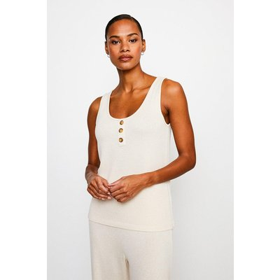 Karen Millen Super Soft Lounge Button Jersey Vest Top -, Oatmeal