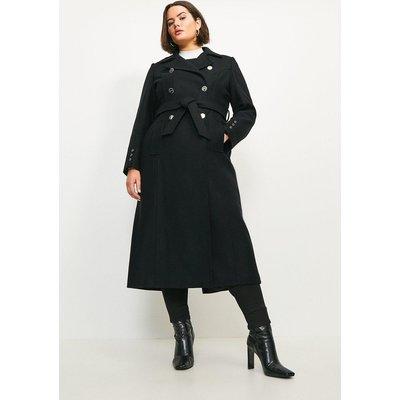 Karen Millen Curve Military Button Belted Maxi Coat -, Black