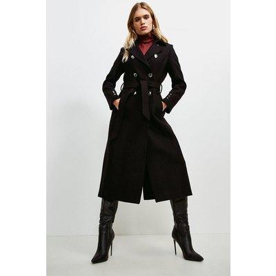 Karen Millen Military Button Belted Maxi Coat -, Black