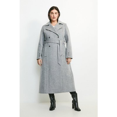 Karen Millen Curve Military Button Belted Maxi Coat -, Grey