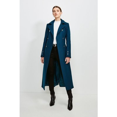 Karen Millen Military Button Belted Maxi Coat -, Blue