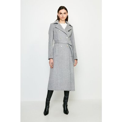 Karen Millen Military Button Belted Maxi Coat -, Grey