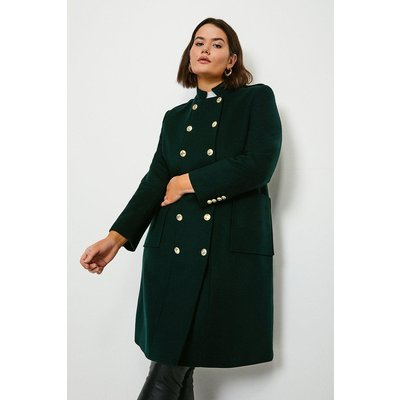 Karen Millen Curve Military Wool Coat -, Bottle Green