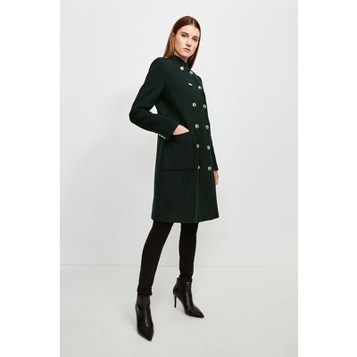 Karen Millen Military Double Breasted Wool Coat -, Bottle Green