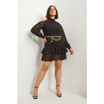 Karen Millen Curve Cold Shoulder Spot Dress -, Black