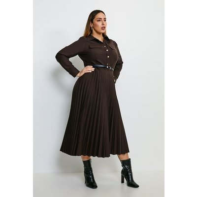 Karen Millen Curve Polished Stretch Wool Blend Shirt Dress -, Brown