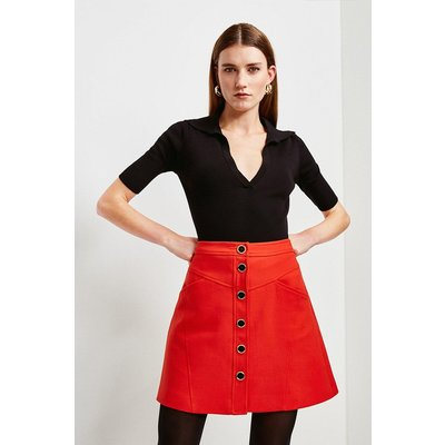 Karen Millen Clean Compact Button Through A Line Skirt -, Red