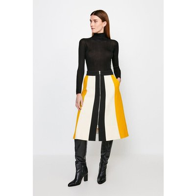 Karen Millen Structured Crepe Colour Block Zip Midi Skirt -, Yellow