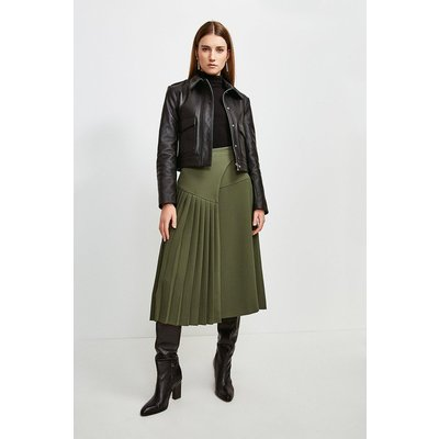 Karen Millen Military Pleated Wrap Midi Skirt -, Green