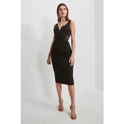 Karen Millen Italian Lace Panelled Shift Dress -, Black