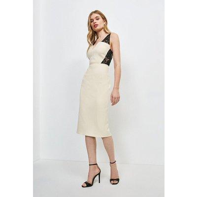 Karen Millen Italian Lace Panelled Shift Dress -, Mono
