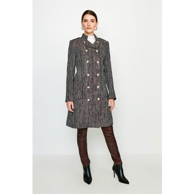 Karen Millen Tweed Military Double Breasted Coat -, Navy