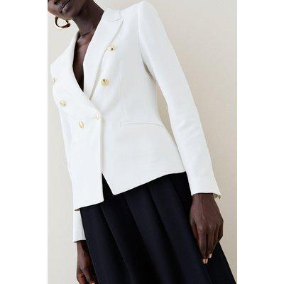 Karen Millen Tailored Button Military Blazer -, Ivory