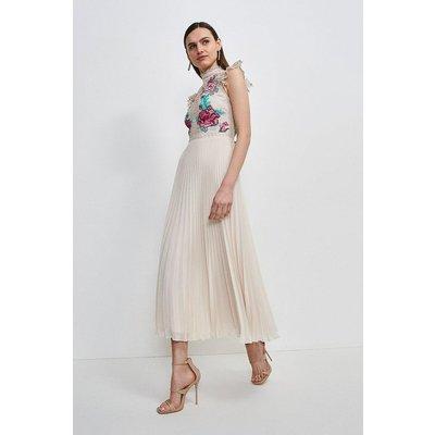 Karen Millen Guipure Lace Pleated Midi Dress -, Nude