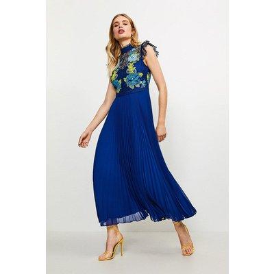 Karen Millen Chemical Lace Pleated Midi Dress -, Blue