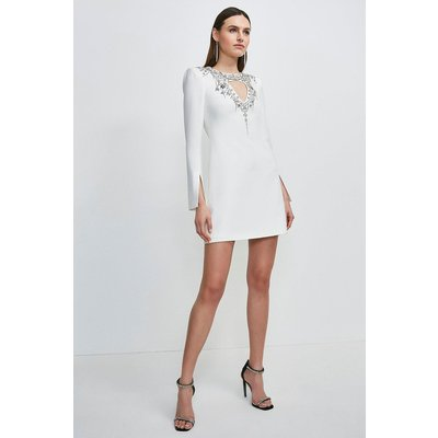 Karen Millen Crystal Embellished Cape Sleeve Dress -, Ivory