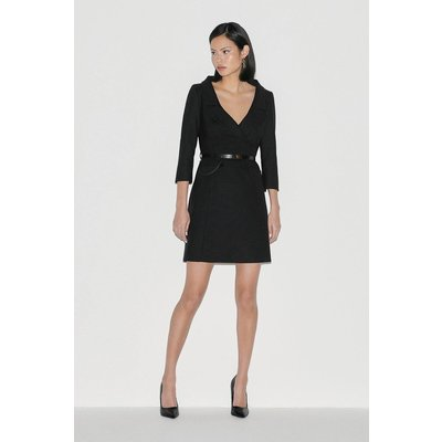 Karen Millen Italian Stretch Wool Collared Dress -, Black