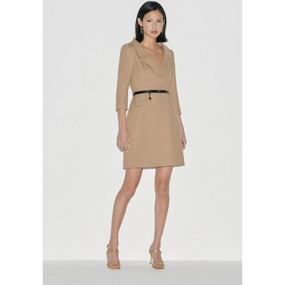 Karen Millen Italian Stretch Wool Collared Dress -, Camel