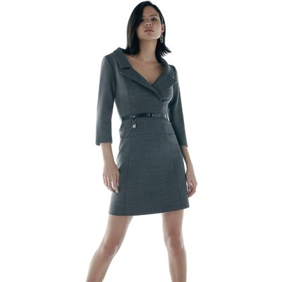 Karen Millen Italian Stretch Wool Collared Dress -, Grey