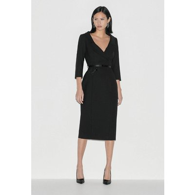 Karen Millen Italian Stretch Wool Collared Pencil Dress -, Black