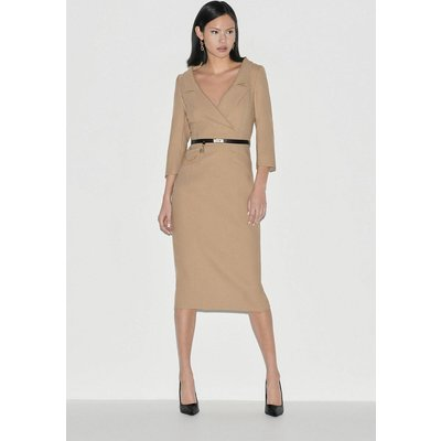Karen Millen Italian Stretch Wool Collared Pencil Dress -, Camel
