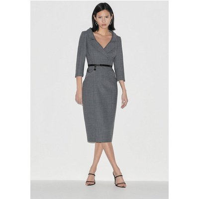 Karen Millen Black Label Italian Stretch Wool Pencil Dress -, Grey